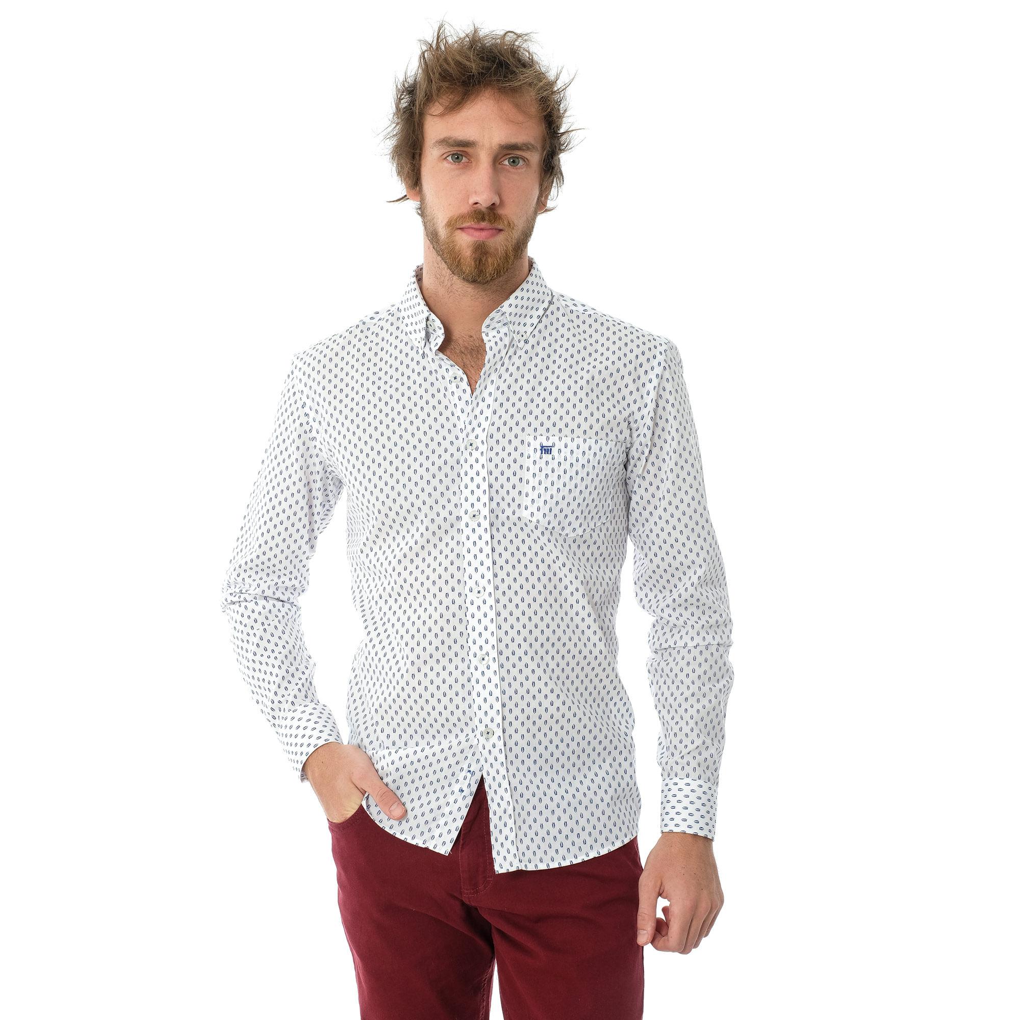 c15323e90 Camisa Social ML Estampada Com Bolso - lojafattoamano